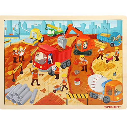 TOP BRIGHT Wooden Jigsaw Puzzles for Kids 48 Pieces,Preschool Kids Puzzle for Ages 4-8,Children Theme Puzzles for Toddlers-Engineering Construction