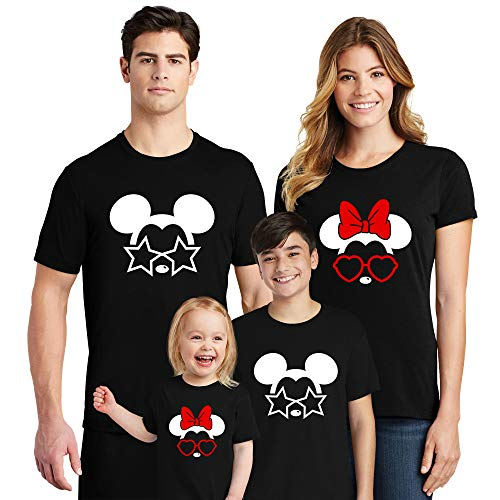 Natural Underwear Family Trip #9 Mickey Mouse Minnie Mouse with Stars Hearts Sunglasses Family Vacation 2019 Couple Shirts Women Men Youth Kids Cotton Crew Neck T Shirts Black Women Large