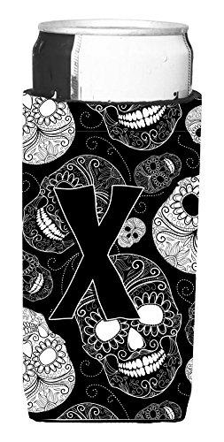 Letter S Day of the Dead Skulls Black Wine Bottle Beverage Insulator Hugger CJ2008-SLITERK