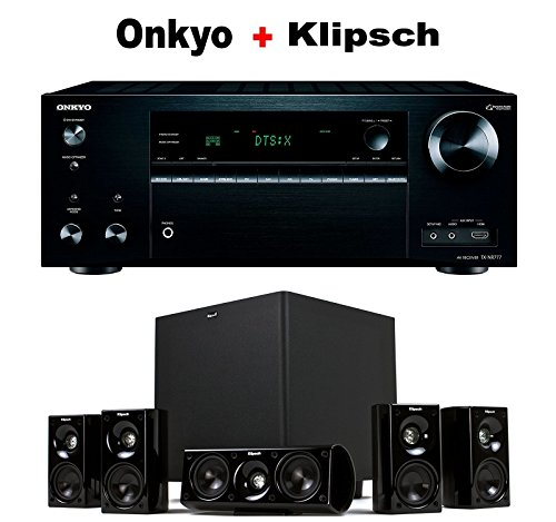 Onkyo THX-Certified Audio & Video Component Receiver black (TX-NR777) + Klipsch HDT-600 Home Theater System Bundle