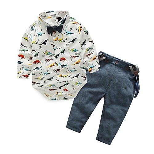 Kimocat Baby Boy Gentleman Dinosaur Tie Shirt Suspender Pants Clothing Set (0-6month(70#))