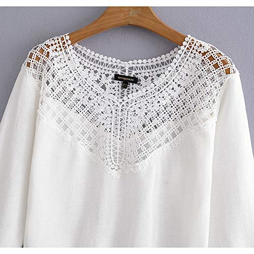 en pour maille lacets White Haut femmes Color ajoure en Size White S ajoure maille x6nqtnIF0X