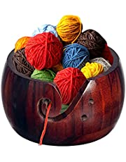 IUAQDP Wooden Yarn Bowls for Crochet Knitting Wool Storage Basket Round with Holes Handmade Craft Crochet Kit