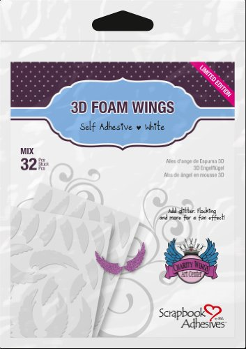Angel Wings Scrapbooks - 3L Corporation Self-Adhesive Scrapbook Foam Embellishment Shapes, Angel Wings