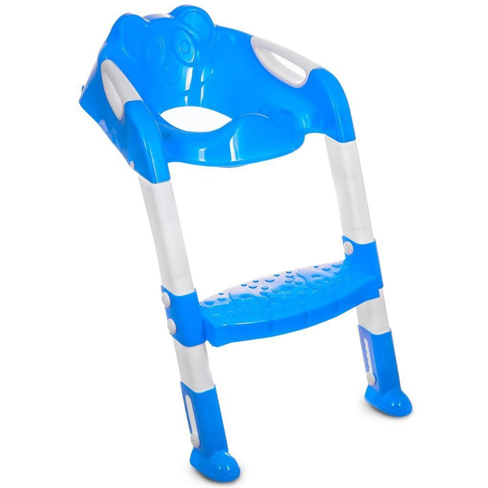 Blue Portable and Durable Children Potty Seat with Ladder Kids Toilet Folding Potty Training Aids Chair