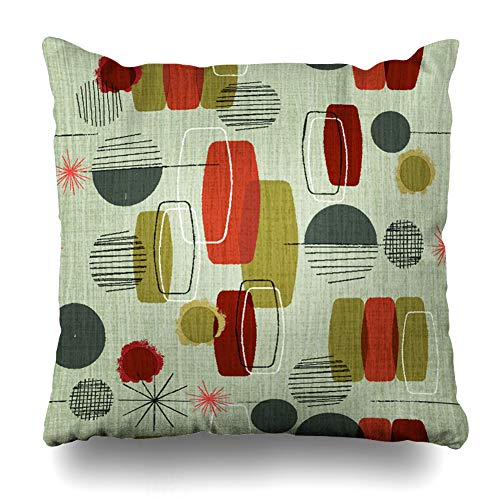 (DIYCow Throw Pillows Covers Weave Retro Wavy Vintage Shapes Pattern Cushion Case Pillowcase Home Sofa Couch Square Size 18 x 18 Inches Pillowslips)