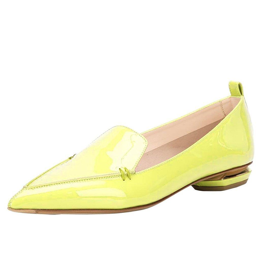 FSJ Fashion Pointed Toe Pumps Low Heels Slip-on Shoes for 4-15 Women Size 4-15 for B01D687F5K 11 B(M) US|Yellow c37179