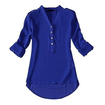 TOOGOO(R) Otono Camiseta suelta de manga larga de moda de senora de chiffon