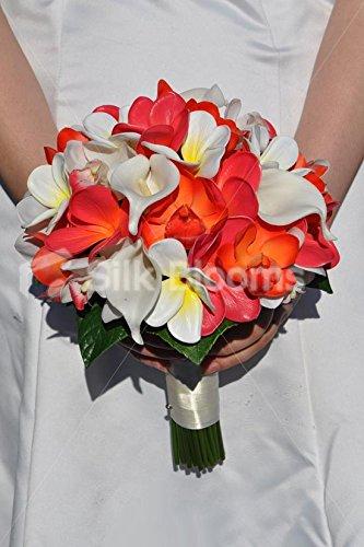 Bouquet Sposa Calle E Orchidee.Tropicale Artificiale Arancione E Rosa Orchidea E Frangipane