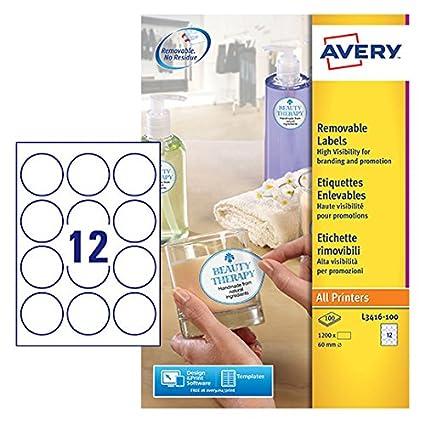 Avery Zweckform L3416 100 Runde Etiketten Zum Bedrucken Selbstklebend ø 60 Mm A4 1200 Aufkleber Auf 100 Blatt Klebepunkte Zum Kennzeichnen Von