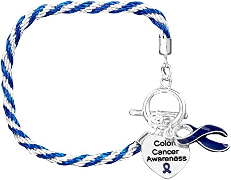 Amazon Com Fundraising For A Cause Colon Cancer Awareness Charm Bracelet With Accent String Dark Blue Ribbon Bracelets For Colon Cancer Awareness Pack Of 12 Clothing