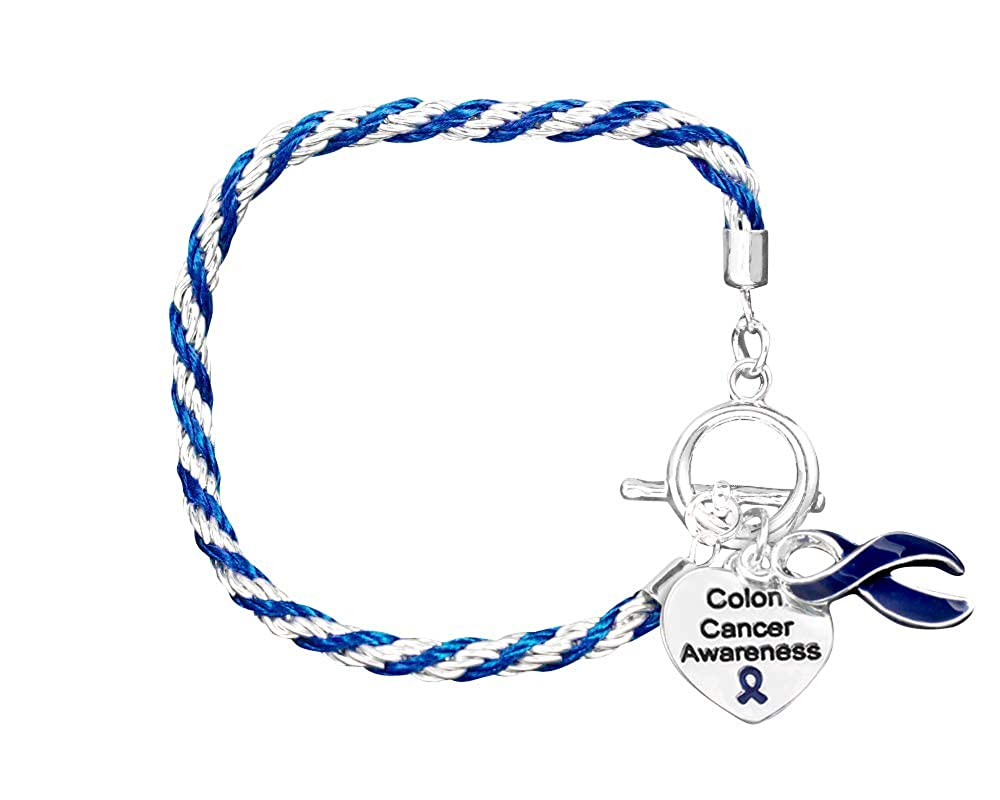 Buy Fundraising For A Cause Colon Cancer Dark Blue Ribbon Rope Bracelet In A Gift Box At Amazon In