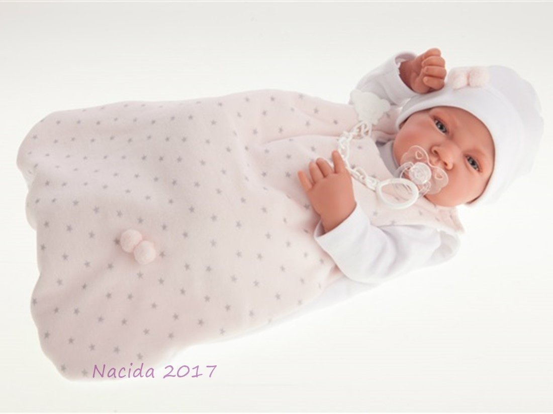 Muñeco recién nacido con saquito paseo niña 42cm.
