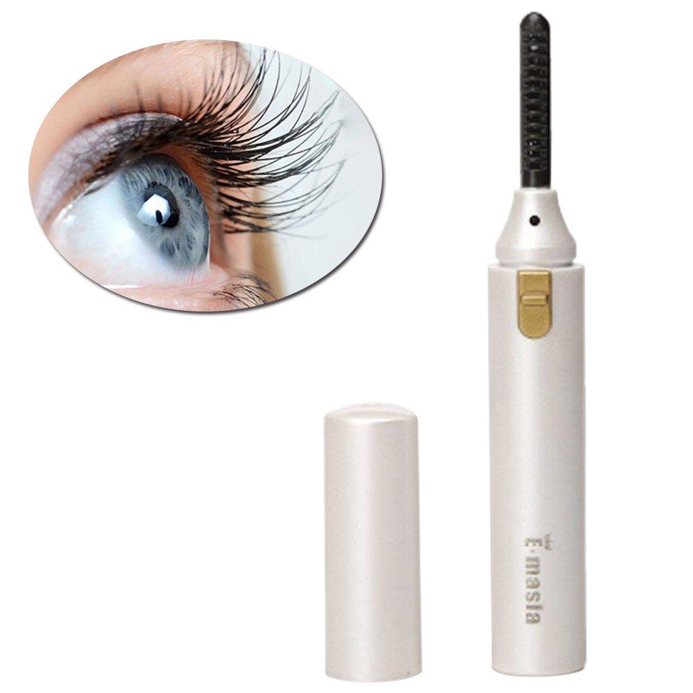 Heated Eyelash Curler, Mini Electric Eyelash Curler Brush, Eyelash Curler with Comb Long Lasting Curled, Portable Electric Makeup Eye Lashes Brush (white) TOULLGO