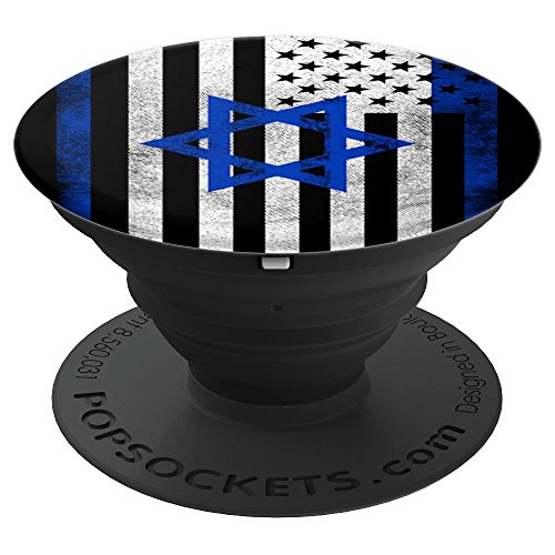 Israeli American Flag Distressed Design - USA Israel - PopSockets Grip and Stand for Phones and Tablets -
