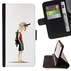 BullDog Case - FOR/LG OPTIMUS L90 / - / BOY SKATEBOARD HAT PAINTING ART SPORT /- Monedero de cuero de la PU Llevar cubierta de la caja con el ID Credit Card Slots Flip funda de cuer