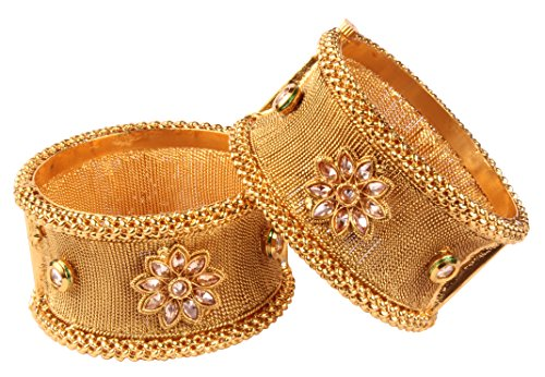 Bollywood Awesome Fashion Gold Tone Indian Polki Bangle Ethnic Traditional Jewelry
