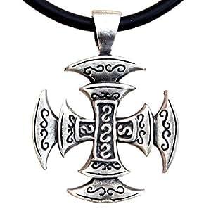OhDeal4U Celtic Viking Square Cross Pagan Silver Pewter Pendant Charm Amulet w Necklace (Black PVC Cord)