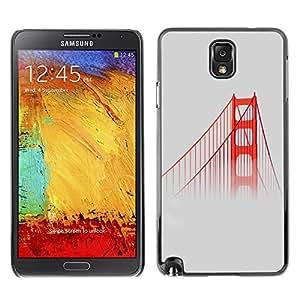TECHCASE**Cubierta de la caja de protección la piel dura para el ** Samsung Galaxy Note 3 N9000 N9002 N9005 ** San Fransisco Bridge Red Usa Mist Fog Nature