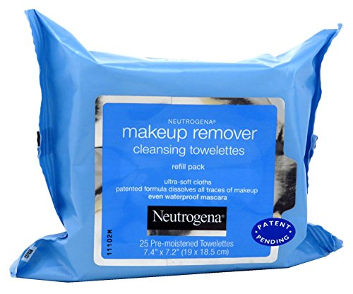 Makeup Remover Cleansing Towelettes Refill - Neutrogena Makeup Remover Cleansing Towelettes, Daily Face Wipes to Remove Dirt, Oil, Makeup & Waterproof Mascara, 25 ct (Pack of 3)