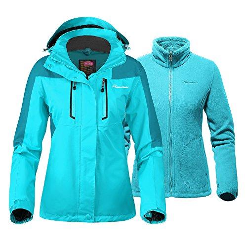 s 3-in-1 Ski Jacket - Winter Jacket Set with Fleece Liner Jacket & Hooded Waterproof Shell - for Women (Turquoise,M) ()