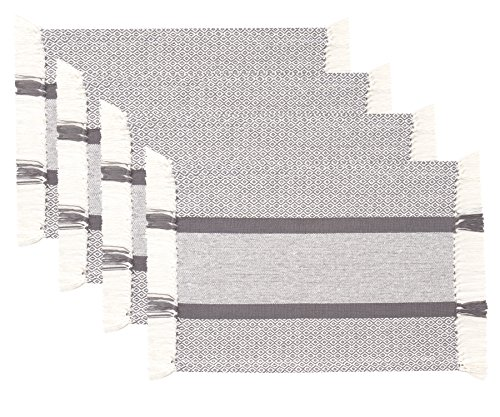 Sticky Toffee Cotton Woven Placemat Set with Fringe, Traditional Diamond, 4 Pack, Gray, 14 in x 19 in by Sticky Toffee