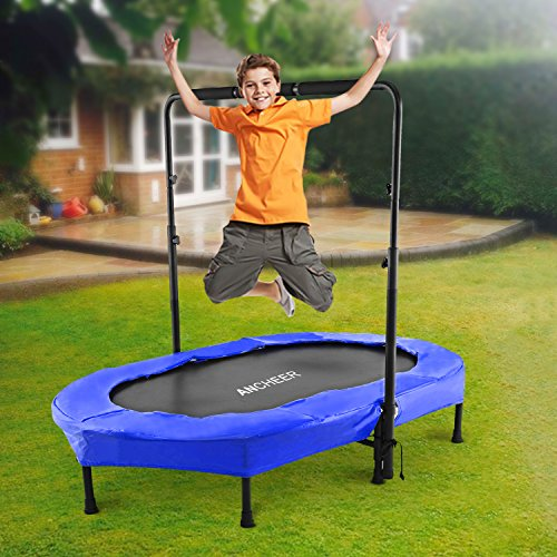 ANCHEER Mini Rebounder Trampoline with Adjustable Handle for Two Kids,Parent-Child Trampoline (Blue) by ANCHEER (Image #6)
