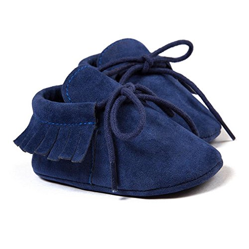 Royal Victory R&V Unisex Infant Baby Boys' Girls' Moccasins Soft Sole Tassels Prewalker Anti-Slip Toddler Shoes (M:6~12 Months, Bandage Dark Blue)