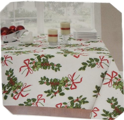 (Vera Neumann Christmas Holly Print Tablecloth - 60