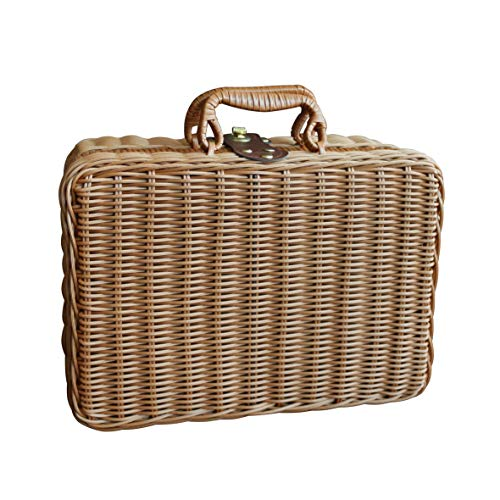 CVHOMEDECO. Primitives Imitation Rattan Small Storage Case Travel Picnic Basket Tabletop Organizer Resin Wicker Suitcase Photography Props Box. Light Brown. 12 X 5-1/4 X 8-3/4 Inch (Vintage Suitcase Wicker)