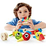 Kids Rainbow Wooden Whistle Toy, Lead Free Pan Flute Toy Musical Developmental Toy, Bird