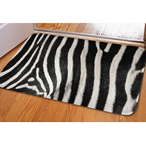 HUGSIDEA Classic Zebra Striped Floor Mat Entry Way Doormat Soft Area Rugs with Non-slip Rubber Backing