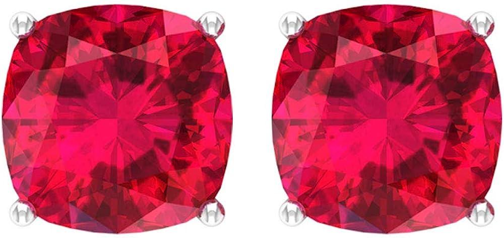 Pendientes de cristal de rubí de 6,3 quilates con relleno de cristal, solitario, pendientes de piedra preciosa, pendientes vintage para mujer, pendientes para todos los días, tornillo hacia atrás