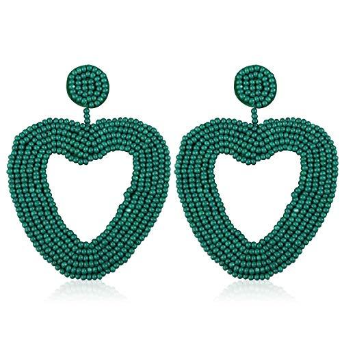 (Statement Beaded Hoop Earrings, Drop Dangle Heart Earrings Bohemian for Women Girl Novelty Fashion Summer Accessories - VE135 Green)