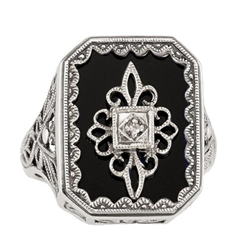 Art Deco Style Filigree Black Onyx and Diamond Ring in Sterling Silver (sz 7) by Jansjewells (Image #1)