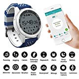 Smart Watches Sunsbell Bluetooth Smart Watch for Android/Iphone, Waterproof Fitness Tracker Watch Camera Pedometer Anti-Lost Watch Altimeter Barometer (Blue & White)
