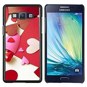 KLONGSHOP // Cubierta de piel con cierre a presión Shell trasero duro de goma Protección Caso - Paper Heart Amor - Samsung Galaxy A5 A5000 //