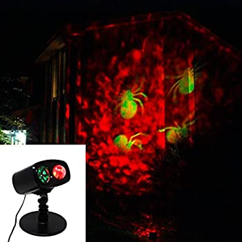 Joiedomi Halloween Lightshow Kaleidoscope LED Projection Spotlight with Fire and Spider Pattern for Indoor Outdoor Halloween Decoration Light
