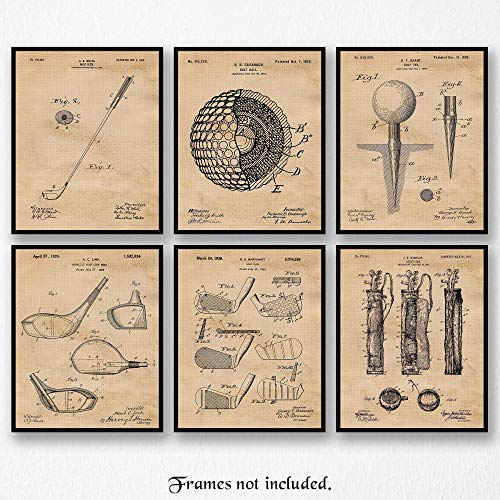 Original Golf Patent Art Poster Prints- Set of 6 (Six 8x10) Unframed Photos- Great Wall Art Decor Gifts Under $20 for Home, Office, Garage, Man Cave, Student, Teacher, Coach, Caddie, PGA Fan -