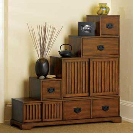 Reversible Japanese Style Furniture   Tansu Wooden Step Chest W/ Storage  Drawers U2013 Rubbed