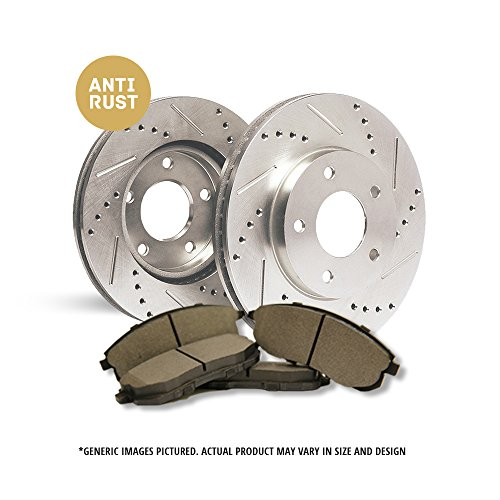 (Front Kit)2 Zinc Plated Cross Drill & Slotted Disc Brake Rotors + 4 Semi-Met Pads(Works with 5lug)-Combo Brake Kit