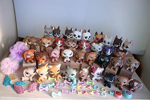 Vspiderman 35 PCS LPS Shorthair Cat Kitty Lot LPS Great Dane LPS Collie LPS Dachshund LPS Cocker Spaniel Dogs Puppy Set with Accessories Lot Clothes Wings Collars Food Drink Boys Girls Xmas Gift Set (Lot Cat)