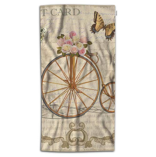 Moslion Letter Bath Towel Vintage Postcard with Flowers Butterfly Old Bicycle Towel Soft Microfiber Baby Hand Beach Towel for Kids Bathroom 32x64 Inch Brown