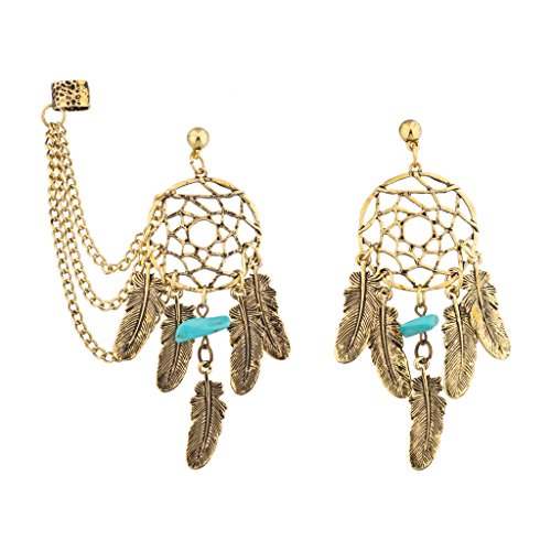 Lux Accessories Dreamcatcher Leaf Turquoise Stone Dangle Earrings w/ Chain Cuff