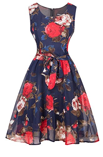 Pampel Damen Sleeve 1950er Hepburn Chiffon Blumen Vintage Rockabilly ...