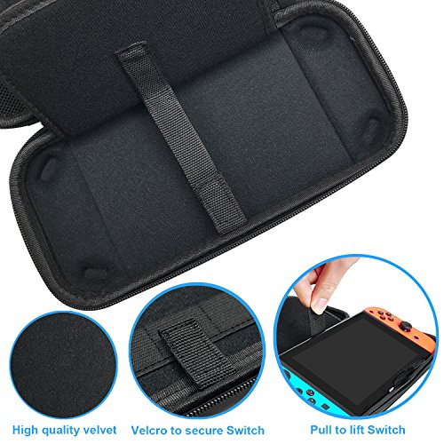Seetop Nintendo Switch Game Travel Carrying Case with 20 Game Storage Holders Hard Shock-Absorption Anti-Scratch Zipper Handle Protective Travel Pouch for Switch Console & Accessories
