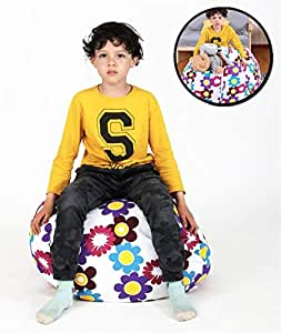 """Bean Bag Chair for Stuffed Animal Storage, Easy Solution for Extra Toys, Blankets, Towels, Clothes, Premium Seat for Kids - 30"""" Flower"""