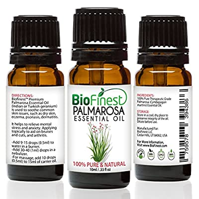 Biofinest Palmarosa Essential Oil - 100% Pure Organic Therapeutic Grade - Best for Aromatherapy, Skin Care, Ease Stress Anxiety Digestion Cold Flu Sore Throat Wounds Scars - FREE E-Book