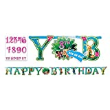 "Disney Tinkerbell Customizable Birthday Party Banner Decoration (1 Piece), Multi Color, 10 1/2 x 10""."