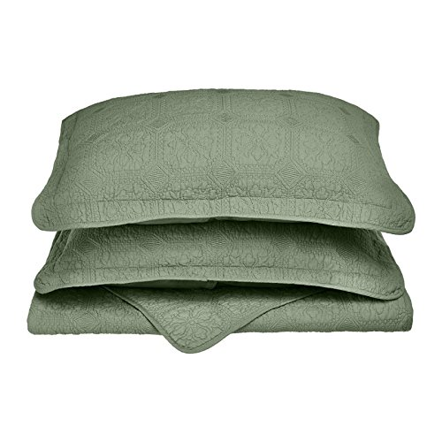 Luxury 100% Cotton Corrington 3-Piece Quilt Set with Matching Pillow Shams - Full / Queen, Sage (Quilt Sag)